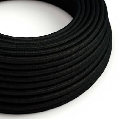 Fil Électrique Rond Gaine De Tissu De Couleur Effet Soie Tissu Uni Noir RM04