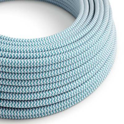 Ronde flexibele electriciteit textielkabel van viscose. RZ11 - hemelsblauw