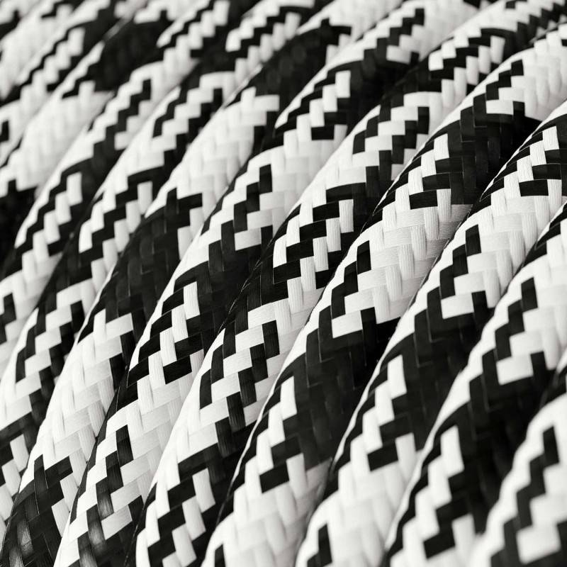 Fil Électrique Rond Gaine De Tissu De Couleur Effet Soie Bicolore Noir RP04