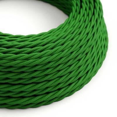 Gevlochten flexibele electriciteit textielkabel van viscose. TM06 - groen