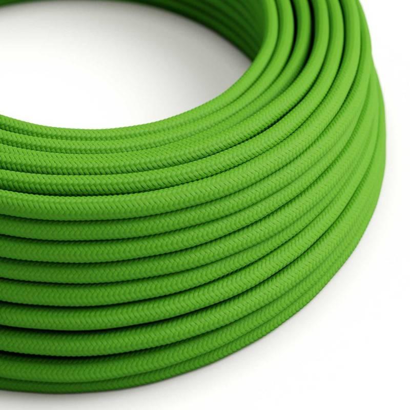 Fil Électrique Rond Gaine De Tissu De Couleur Effet Soie Tissu Uni Vert Lime RM18