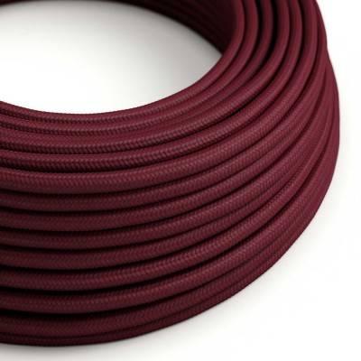 Ronde flexibele electriciteit textielkabel van viscose. RM19 - donkerrood (burgundy)