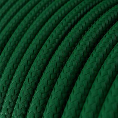 Fil Électrique Rond Gaine De Tissu De Couleur Effet Soie Tissu Uni Vert Foncé RM21