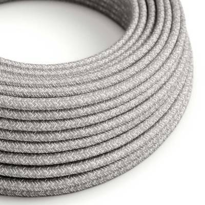 Ronde flexibele electriciteit textielkabel van linnen. RN02 - natuurlijk grijs