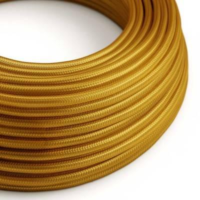 Ronde flexibele electriciteit textielkabel van viscose. RM05 - goud