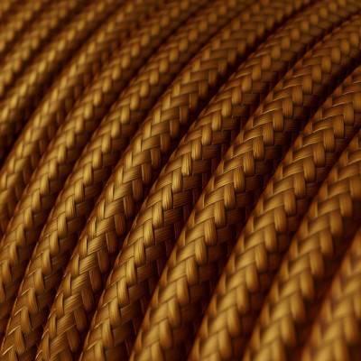 Fil Électrique Rond Gaine De Tissu De Couleur Effet Soie Tissu Uni Whiskey RM22