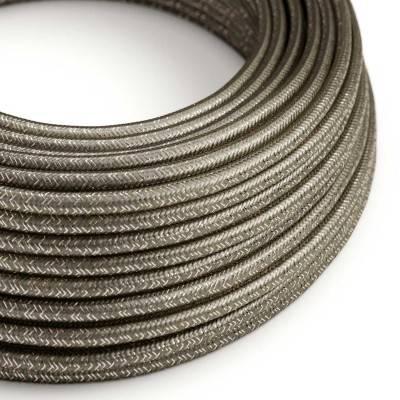 Ronde flexibele glinsterende electriciteit textielkabel van viscose. RL03 - grijs