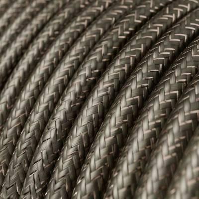 Fil Électrique Rond Gaine De Tissu De Couleur Effet Soie Tissu Uni Paillettes Gris RL03