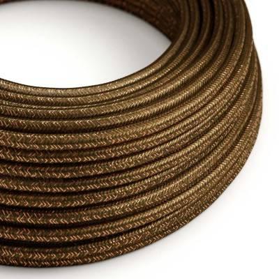 Ronde flexibele glinsterende electriciteit textielkabel van viscose. RL13 - bruin