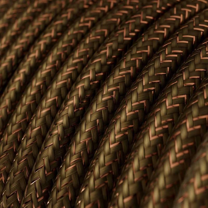 Fil Électrique Rond Gaine De Tissu De Couleur Effet Soie Tissu Uni Paillettes Marron RL13