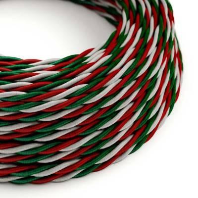 Gevlochten flexibele electriciteit textielkabel van viscose met Italiaanse vlag patroon.