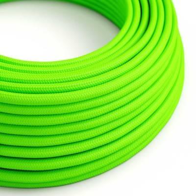 Fil Électrique Rond Gaine De Tissu De Couleur Effet Soie Tissu Uni Vert Fluo RF06