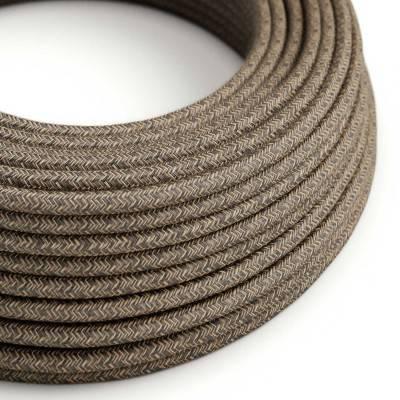 Ronde flexibele electriciteit textielkabel van linnen. RN04 - natuurlijk bruin