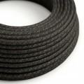 Ronde flexibele electriciteit textielkabel van linnen. RN03 - natuurlijk antraciet