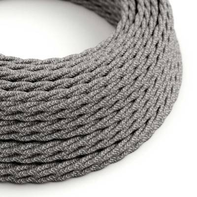 Gevlochten flexibel strijkijzersnoer van linnen. TN02 - natuurlijk grijs