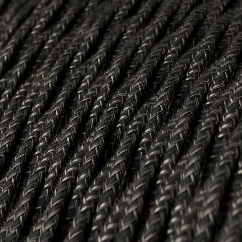 Gevlochten flexibel strijkijzersnoer van linnen. TN03 - natuurlijk antraciet