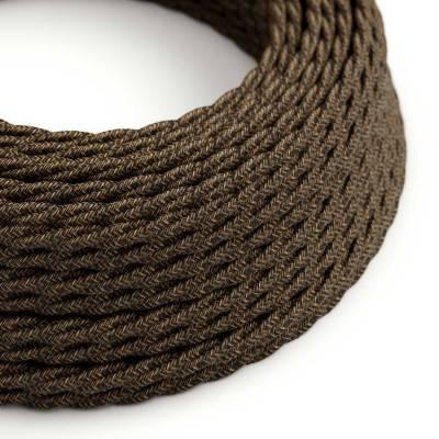 Gevlochten flexibel strijkijzersnoer van linnen. TN04 - natuurlijk bruin