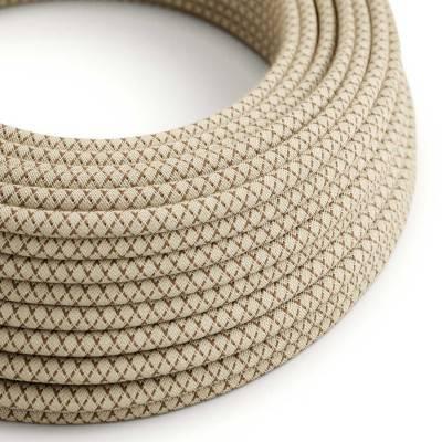 Rond flexibel strijkijzersnoer RD63 - diamant motief decoratie in grof linnen en bruine bast katoen