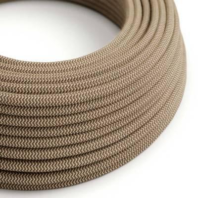 """Rond flexibel strijkijzersnoer RD73 - zigzag motief in grof linnen en bruin """"schors"""" katoen"""
