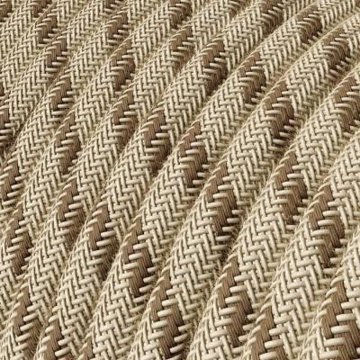 Rond flexibel strijkijzersnoer RD53 - strepen motief decoratie in grof linnen en bruine bast katoen