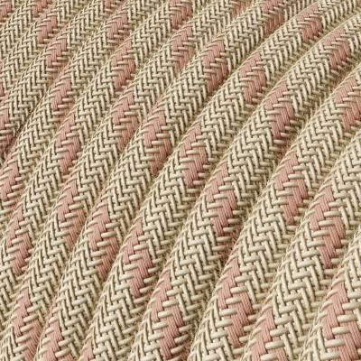 """Rond flexibel strijkijzersnoer RD51 - strepen motief decoratie in grof linnen en """"oud"""" roze katoen"""