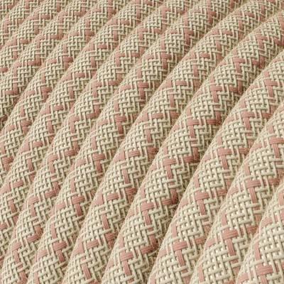 """Rond flexibel strijkijzersnoer RD61 - diamant motief decoratie in grof linnen en """"oud"""" roze katoen"""