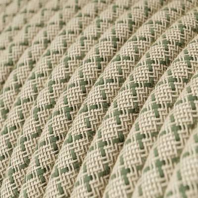 Fil Électrique Rond Gaine De Coton De Couleur Losange Vert Thym Et Lin Naturel RD62