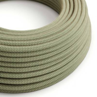 Populair: Rond flexibel strijkijzersnoer RD72 - zigzag motief decoratie in grof linnen en groen tijm katoen