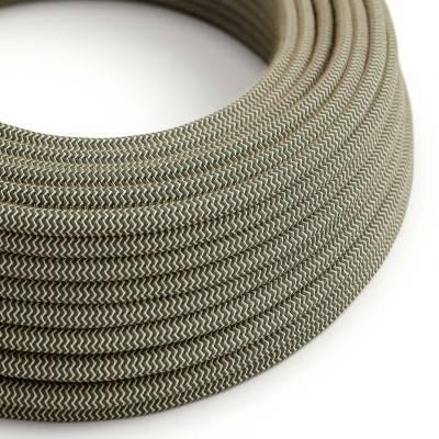 Rond flexibel strijkijzersnoer RD74 - zigzag motief in grof linnen en antraciet katoen.