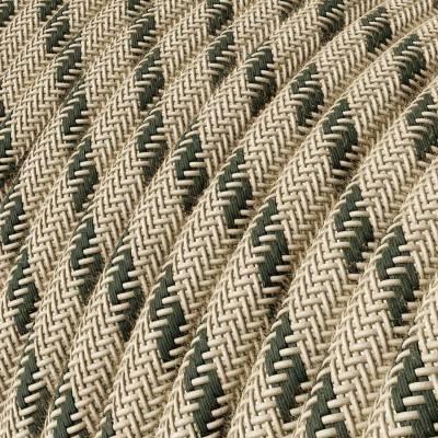 Rond flexibel strijkijzersnoer RD54 - strepen motief decoratie in grof linnen en antraciet katoen