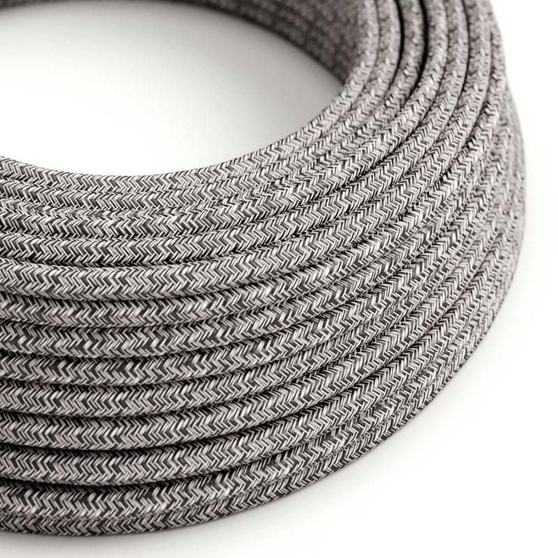 Fil Électrique Rond Gaine De Coton De Couleur Onyx Tweed, Noir, Lin Naturel Et Finition Paillettes RS81