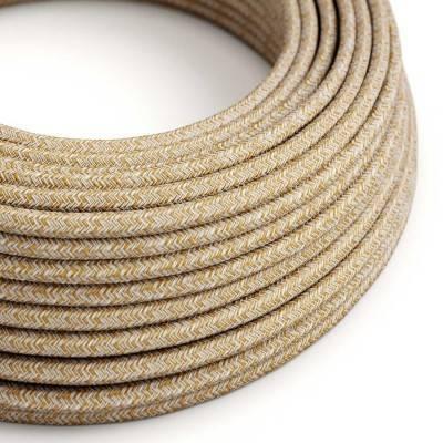 Rond flexibel strijkijzersnoer RS82 - roodbruin in grof linnen afgewerkt met glitter en bruin katoen