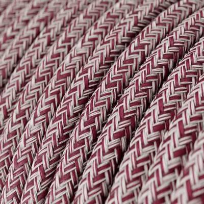 Fil Électrique Rond Gaine De Coton De Couleur Tweed Bordeaux, Rouge, Lin Naturel Et Finition Paillettes RS83