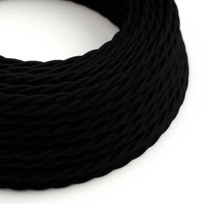Gevlochten flexibel strijkijzersnoer van katoen. TC04 - zwart