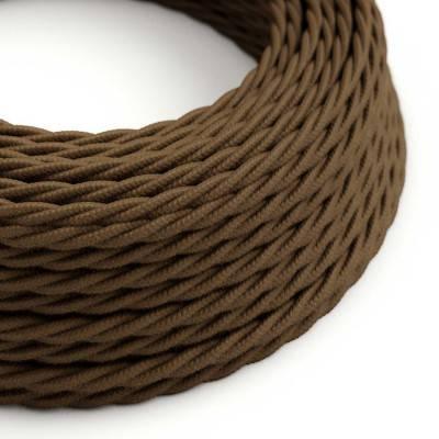 Gevlochten flexibel strijkijzersnoer van katoen. TC13 - bruin