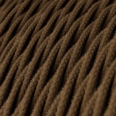 Fil Électrique Torsadé Gaine De Coton De Couleur Tissu Uni Marron TC13