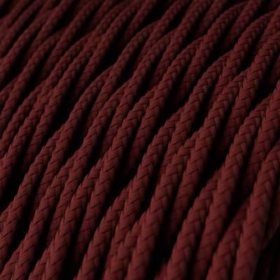 Fil Électrique Torsadé Gaine De Tissu De Couleur Effet Soie Tissu Uni Bordeaux TM19