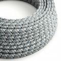 Ronde flexibele electriciteit textielkabel van viscose. RX04 - pixel motief kleur Ice