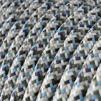 Fil Électrique Rond Gaine De Tissu De Couleur Effet Soie RX04 Pixel Glace
