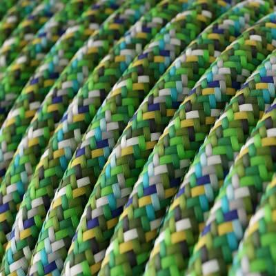 Fil Électrique Rond Gaine De Tissu De Couleur Effet Soie RX05 Pixel Vert