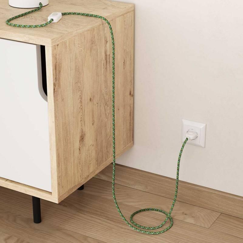 Ronde flexibele electriciteit textielkabel van viscose. RX05 - pixel groen