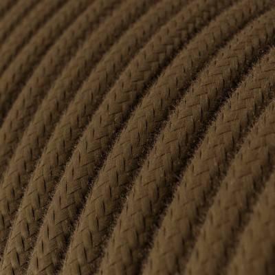 Fil Électrique Rond Gaine De Tissu De Couleur Coton Tissu Uni Marron RC13