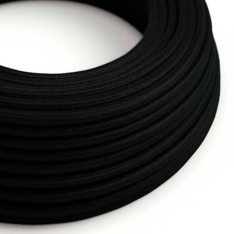 Fil Électrique Rond Gaine De Tissu De Couleur Coton Tissu Uni Noir RC04