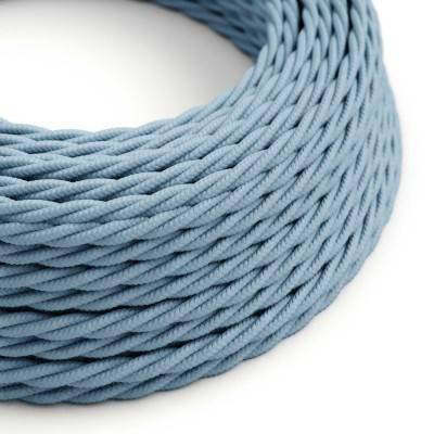 Gevlochten flexibel strijkijzersnoer van katoen. TC53 - oceaan blauw