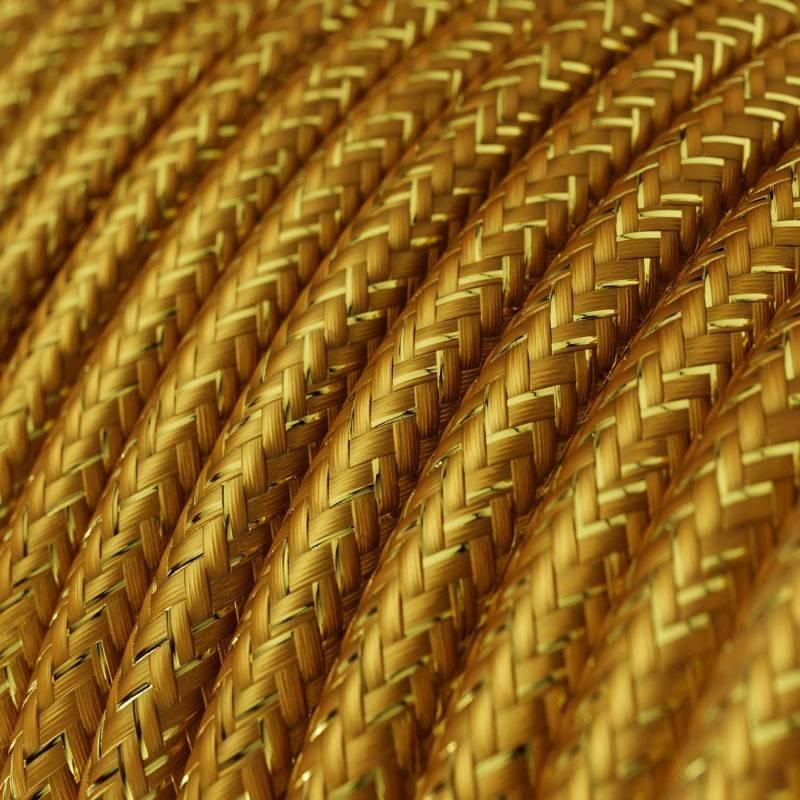 Fil Électrique Rond Gaine De Tissu De Couleur Effet Soie Tissu Uni Paillettes Or RL05