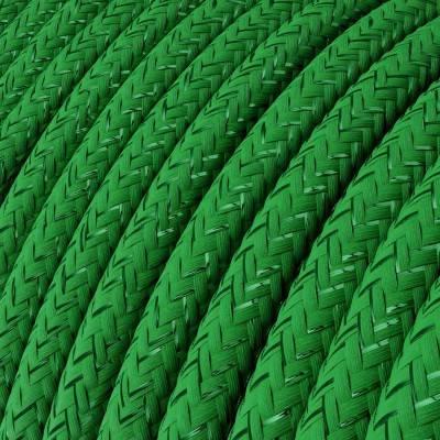 Fil Électrique Rond Gaine De Tissu De Couleur Effet Soie Tissu Uni Paillettes Vert RL06