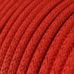 Fil Électrique Rond Gaine De Tissu De Couleur Effet Soie Tissu Uni Paillettes Rouge RL09