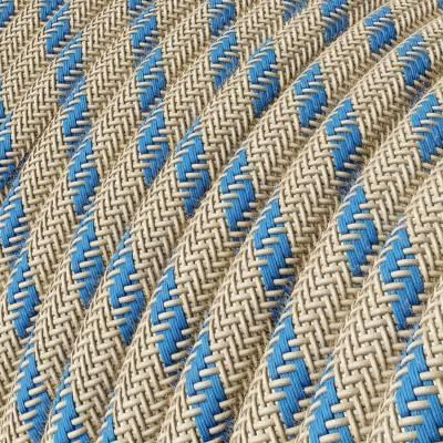 Rond flexibel strijkijzersnoer RD55 - Steward blauw strepen katoen en natuurlijk linnen