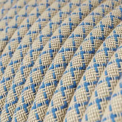 """Rond flexibel strijkijzersnoer RD65 - Steward blauw """"oud"""" roze katoen en natuurlijk linnen"""