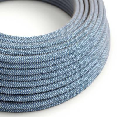 Rond flexibel strijkijzersnoer RD75 - Steward blauw zigzag katoen en natuurlijk linnen